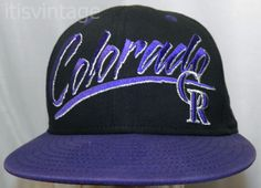 Denver-Colorado-Rockies-New-Era-100-Cotton-Twill-Snapback-Baseball-Cap-Hat-Vtg