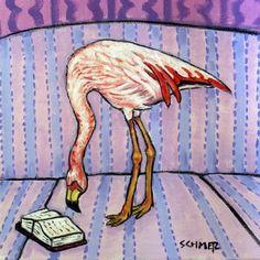 Flamingo Reading Bird Art Tile Coaster by lulunjay on Etsy, $12.49