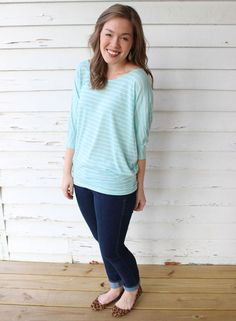 This outfit is me to a tee. I look best in pastels. I love this shade, and the stripes! The sleeves are not like anything else I own. HLA