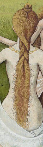 """close up of hair from medieval artwork """"Evrart de Conty , Le livre des échecs amoureux moralisés"""" by Jacobus Magnus (1360 ?-1425 ?). (Illuminated manuscript close up)."""