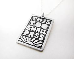This too shall pass Inspirational quote necklace by lulubugjewelry