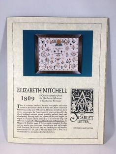 Scarlet Letter Counted Cross Stitch Chart ELIZABETH MITCHELL 1809 Quaker Sampler | eBay