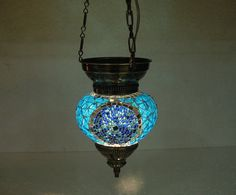 Check out this item in my Etsy shop https://www.etsy.com/listing/268969633/blue-hanging-lamp-lampe-mosaique-night