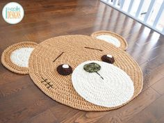 Classic Teddy Bear Rug Crochet Pattern Crochet pattern by Ira Rott Crochet Teddy Bear Pattern, Crochet Rug Patterns, Crochet Bear, Crochet Home, Baby Patterns, Crochet Stitches, Crochet Unique, Cute Crochet, Crotchet