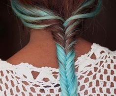 braid, brown and blue hair, hair, mermaid tail 2015 Hairstyles, Pretty Hairstyles, My Little Pony Hair, Teal Hair, Brown Hair, Turquoise Hair, Ombre Hair, Mint Hair, Hair Chalk