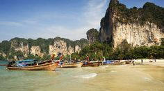 Hat Phra Nang, Railay -- This beauty will shock and awe. Perfect sand, limestone cliffs and caves, emerald water and colourful long-tail boats make this photographic bliss. It's little more than a cosy nook, and tends to get crowded in high season.