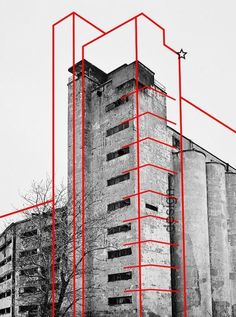 Architecture & Graphic design: I like the contrast of color + black/white, and the use of drawing over an image. Architecture & Graphic design: I like the contrast of color + black/white, and the use of drawing over an image. Architecture Russe, Architecture Design, Architecture Graphics, Russian Architecture, Historic Architecture, Building Architecture, Photomontage, Graphisches Design, Design Ideas