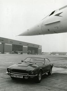 """Concorde: With British Airways """"Speedbird"""" Logo. AND an Aston Martin beneath Concorde's Nose!"""