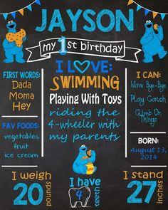 1st Birthday Chalkboards. Cookie Monster Theme Birthday Chalkboard