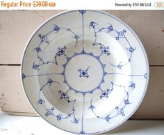 SALE Danish antique Soup Plate Blue Fluted by andthebigbadwolf