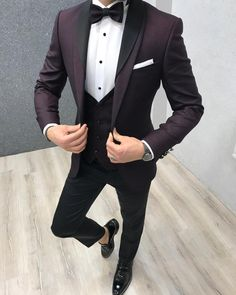Product: Slim-Fit Shawl Collar Grooms Vest Suit Color Code: Damson Size: 46-48-50-52-54-56 Suit Material: 70% viscose, 30% poly Machine Washable: No Fitting: Slim-fit Season: Spring Wedding Season Package Include: Coat, Vest and Pants Only  #partysuits #groomsuits #weddingsuits #suits