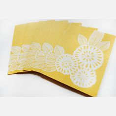 Floral Note Cards 5 Pack Yellow  by Katharine Watson