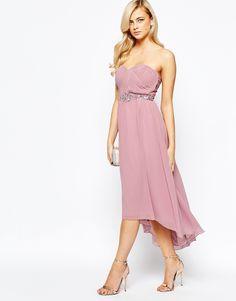 Image 1 ofLittle Mistress Pleated Bandeau Maxi Dress