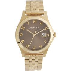 Marc By Marc Jacobs The Slim MBM3349 Watch ($265) ❤ liked on Polyvore featuring jewelry, watches, gold, steel jewelry, polish jewelry, steel watches, marc by marc jacobs watches and dial watches
