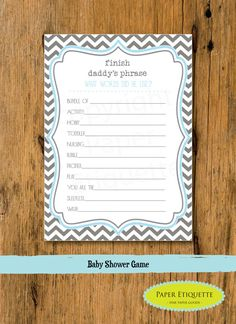 INSTANT UPLOAD  Baby Shower Game Chevron Blue & by PaperEtiquette, $5.00