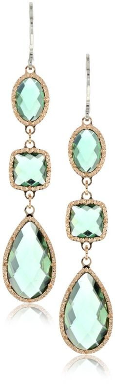"""Rebecca """"Florence Code"""" Rose Gold Over Sterling Vessonite Earrings: Jewelry I Love Jewelry, Jewelry Box, Jewelry Accessories, Jewelry Design, Bling, Bleu Turquoise, Diamond Are A Girls Best Friend, Turquoise Necklace, Drop Earrings"""