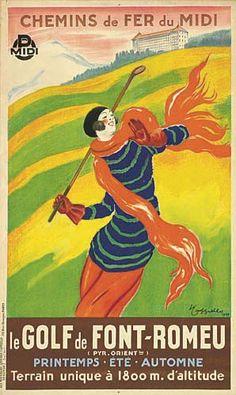 chemins de fer du midi - Le golf de Font-Romeu - 1929 - illustration de Leonetto Cappiello - France -