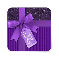Purple Ribbon Merry Christmas Gift Stickers