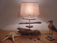 lampe en bois flotté - abat-jour rectangle lin - modèle unique : Luminaires par un-jour-de-pluie72