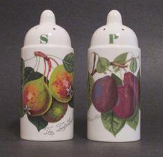 Portmeirion Pomona Salt & Pepper Shakers Set England Plum Pear 4 inch Early Rare