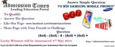 Win Samsung Mobile Phones from Admission Times, Answer Simple Question