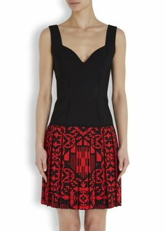 Black and red jacquard dress - Women