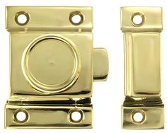 $17, The latch base measures 2 1/4 tall inches by 1 5/8 wide inches and the catch base measures 2 1/4 tall inches by 3/4 wide inches  3 Inch Victorian Latch & Catch (Polished Brass Finish) Nickel Finish, Polished Nickel, Antique Brass, It Is Finished, Hardware, Victorian, Base, Kitchen, Cooking