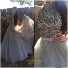 vampal.co.uk Offers High Quality Grey Halter High Neck Beaded Embellished Bodice Long Prom Dress ,Priced At Only USD $173.00 (Free Shipping)