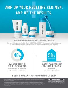 Rodan + Fields Redefine Regimen is for the appearance of lines, pores and loss of firmness.  Amp up your results with our patented Redefine Amp MD system and receive an additional 20% discount.  60 day money back guarantee.  Message me for details mnbrooks11@hotmail.com