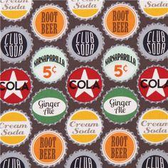 grey-brown retro bottle crown cap fabric Pop Top Cola by Michael Miller USA 2