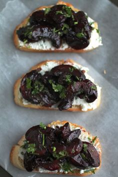 Wine roasted mushroom crostini with goat cheese and ricotta. (AKA the thing your life has been missing).