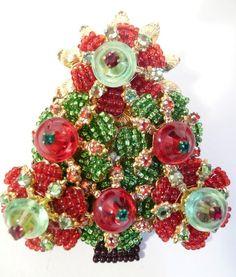 rare christmas tree brooch | Fabulous Vintage Stanley Hagler Christmas Tree Brooch ...