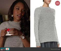 Iris's grey textured mock-neck sweater on The Flash.  Outfit Details: http://wornontv.net/41975/ #TheFlash