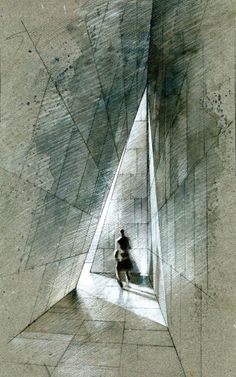 beautiful concept sketch Mourning House, Mexico City by Pascal Arquitectos