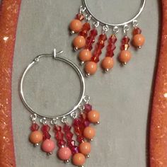 Coral mesh necklace and earring set