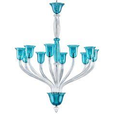 Cyan Design Vetrai 10 Light Chandelier in Teal