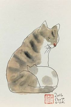 Cat illustration by Shozo Ozaki Cute Cat Illustration, Cat Illustrations, Oriental Cat, Japanese Drawings, Cat Sketch, Watercolor Animals, Cat Drawing, Crazy Cats, Cat Art