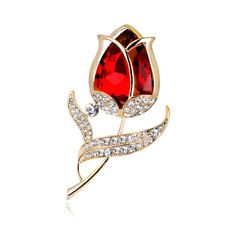Fashion Red Glass White Rhinestone Gold Plated Lady Rose Flower Shape Brooch Pin