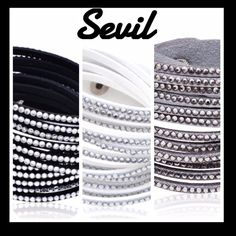 Sevil Leather Austrian Crystal Wrap bracelet Flashes of sparkle accents makes this twisted wrap bracelet bring appeal to any look. Confortable to wear with a snap closure. Available in black,gray, and white. If you would like to purchase it let me know what color you'd like and I'll create a new ad for you! Sevil Jewelry Bracelets