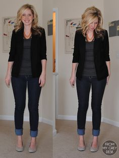 blazer - lauren conrad for kohl's  tank - target  necklace - forever 21  jeans - gap  wedges - target