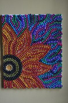 Recycled Mardi Gras Bead Art Wall Decoration Flower by BeadsByEric Auction Projects, Art Auction, Auction Ideas, Cute Crafts, Bead Crafts, Arts And Crafts, Recycled Art Projects, Recycled Crafts, Mardi Gras Beads
