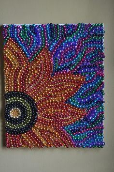 Recycled Mardi Gras Bead Art Wall Decoration Flower by BeadsByEric