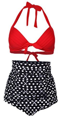 6124baacf7 Tankini Women Retro Plus Size Vintage Sexy High Waist Bikinis Set Swimsuit  Swimwear Bathing Suit Beachwear Bikini