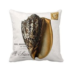 Pillow Cover Gold Conch Shell by JolieMarche on Etsy