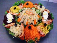 Moroccan Salad, Party Platters, Food Reviews, Food Art, Cobb Salad, Catering, Sushi, Seafood, Toast