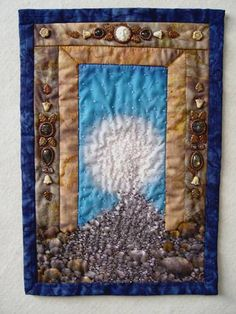 """""""The work here shows my journey into the relationship of beads and fabric. It started when I was rear-ended on the freeway and couldn't do s..."""
