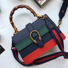 cf11baf680d268 Gucci Dionysus Leather Bamboo Top Handle Bag 448075 Navy/Green/Red 2016