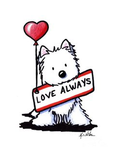 Love Always Westie Drawing