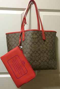 New Coach Handbag F36658 Reversible City Tote In Signature KHAKI WATERMELON NWT #Coach #TotesShoppers