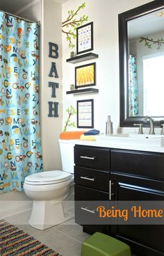 Being Home Boy Bathroom Makeover Abc And Nature Theme Using Ikea And Target Decor